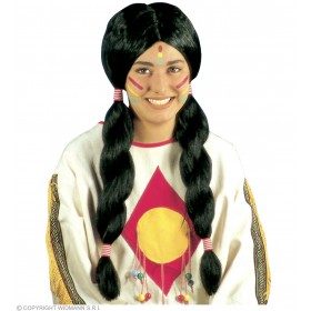 Native American Wig Deluxe Men/Woman - Fancy Dress Ladies (Cowboys/Native Americans)
