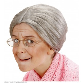 Child Grandma Wig In Polybag - Fancy Dress Ladies