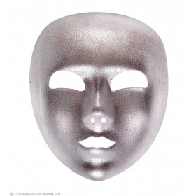 Mask Silver Fabric Full Face - Fancy Dress