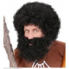 Character Curly Wig/Beard - Black - Fancy Dress