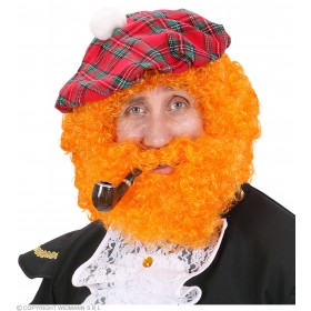 Character Curly Wig/Beard - Orange - Fancy Dress (Animals)