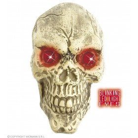 Wall Skulls With Blinking Led Eyes 25Cm - Fancy Dress (Halloween)