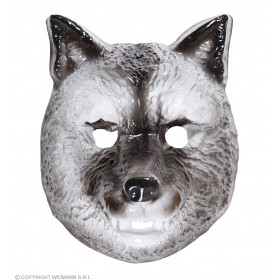 Adult Unisex Plastic Mask Child - Wolf Masks - (Grey)
