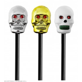 Skull Walking Cane W/Maracus Effect - Fancy Dress (Halloween)