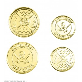 Set Of 12 Gold Doubloons - Fancy Dress