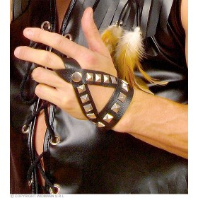 Leatherlook Studded Fingergloves - Fancy Dress
