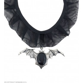 Gothic Bat Choker W/Black Gem - Fancy Dress (Halloween)