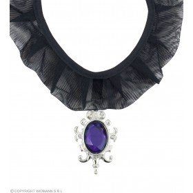 Gothic Choker W/Purple Gem - Fancy Dress (Halloween)