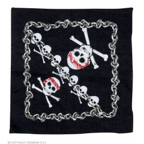 Bandana Black W/Pirate Skull 55X55 Cm - Fancy Dress (Pirates)