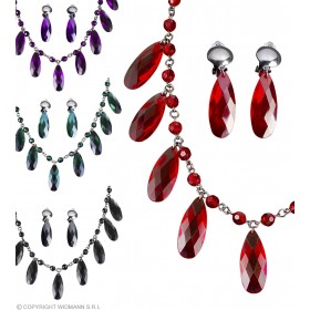 Ladies Gothic Necklace & Earring Set - 4 Cols Jewellery - (Silver)