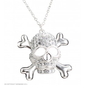 Adult Unisex Strass Skull Necklaces Jewellery - (Silver)