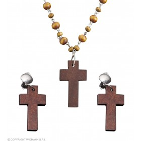 Wooden Rosary & Cross Earring Set Jewellery