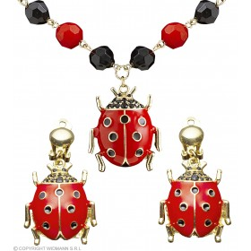 Ladies Ladybug Necklace & Earring Set Jewellery - (Black, Red)