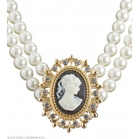 Ladies Cameo & Pearls Necklace Jewellery - (White)