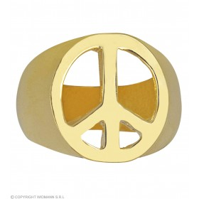 Ladies Gold Peace & Love Rings Jewellery - (Gold)