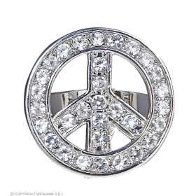 Ladies Strass Peace & Love Rings Jewellery - (Silver)