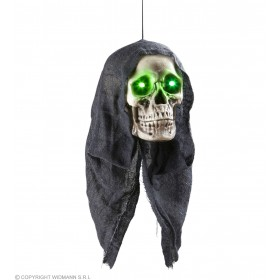 Hooded Skulls With Green Led Eyes 45Cm - Fancy Dress (Halloween)