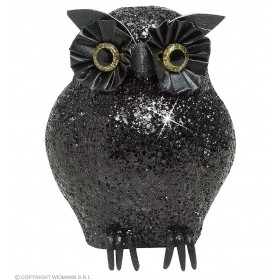 Black Glitter Owls 11Cm - Fancy Dress (Halloween)