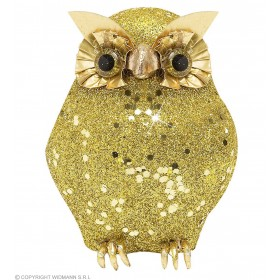 Gold Glitter Owls 11Cm - Fancy Dress (Halloween)