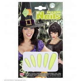 Ladies Glow In The Dark Witch Nails Accessories - (Green)