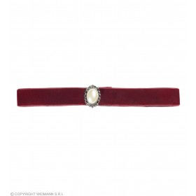 Burgundy Choker With Pearl Stone Jewellery - (Purple)