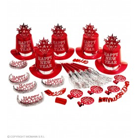 New Year Party Kit Red For 10 People - Fancy Dress