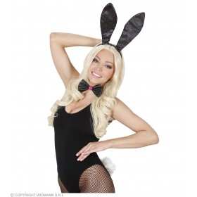 Ladies Glitter Bunny Dress Up Set - Black Accessories - (Black)