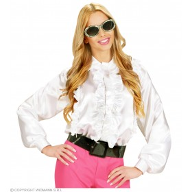 M Size Satin White Ruffle Shirts - Fancy Dress