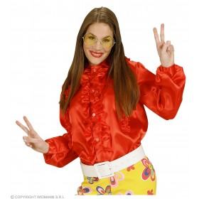 M Size Satin Red Ruffle Shirts - Fancy Dress
