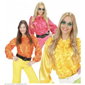 M Size Satin Ruffle Shirts 3 Col. Ass. - Fancy Dress