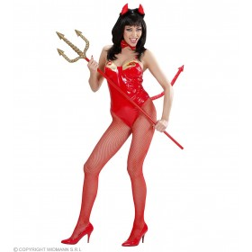 Adult Unisex Red Vinyl Devil Dress Up Set Accessories - (Red)