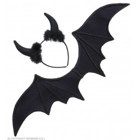 Adult Unisex Black Devil Dress Up Set Accessories - (Black)