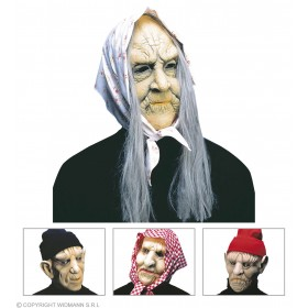 Old Man/Woman Mask W/Headpiece - Fancy Dress Ladies
