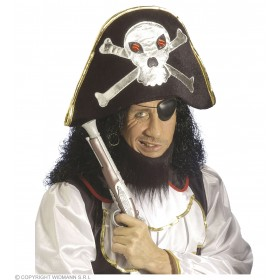 Velvet Pirate Hat W/Maxi Skull - Fancy Dress (Pirates)