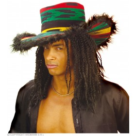 Funky Rasta Hat W/Plush Border - Fancy Dress