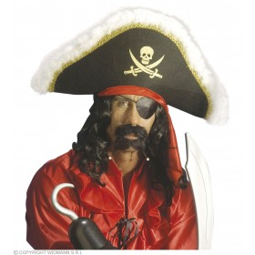 Deluxe Pirate Hat W/Gold Trim And Marabou - Fancy Dress (Pirates)
