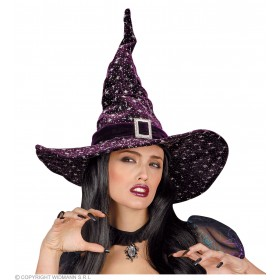Glitter Velvet Witch/Wizard Hat 3 Cols - Fancy Dress (Halloween)