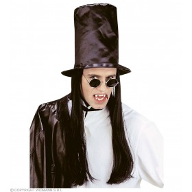 Vampire Top Hat With Hair - Fancy Dress (Halloween)
