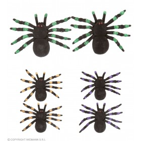 Set Of 2 Flocked Spiders 12Cm - 3 Colors Ass Tricks