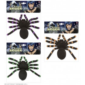 Flocked Spiders 24Cm - 3 Colors Ass Tricks