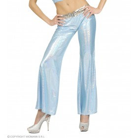 Woman Size Blue Holographic Sequin Pants - Fancy Dress