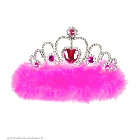 Girls Night Out Tiara - Pink Marabou Hats - (Pink)