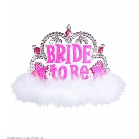 Bride To Be Tiara W/ White Marabou Hats