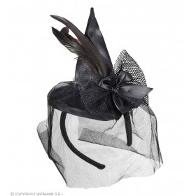 Mini Witch Hat With Feathers And Veil Hats