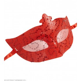 Sequin & Lace Eyemask -Red Eyemasks