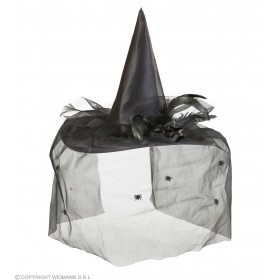 Witch Hats With Tulle, Flower & Feathers Hats