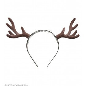 Festive Flocked Reindeer Horns Headband