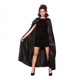Deluxe Satin Cape w/ Collar - BLACK Adult Accessories