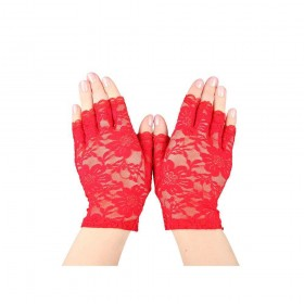 Ladies Short Lace Fingerless Gloves - Red Gloves