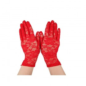 Ladies Lace Gloves - Red Gloves